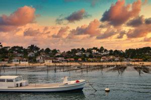 arcachon bay at sunset