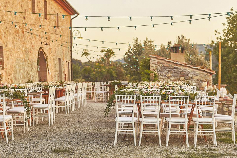 Wedding tables outside of Villa Monte Nero