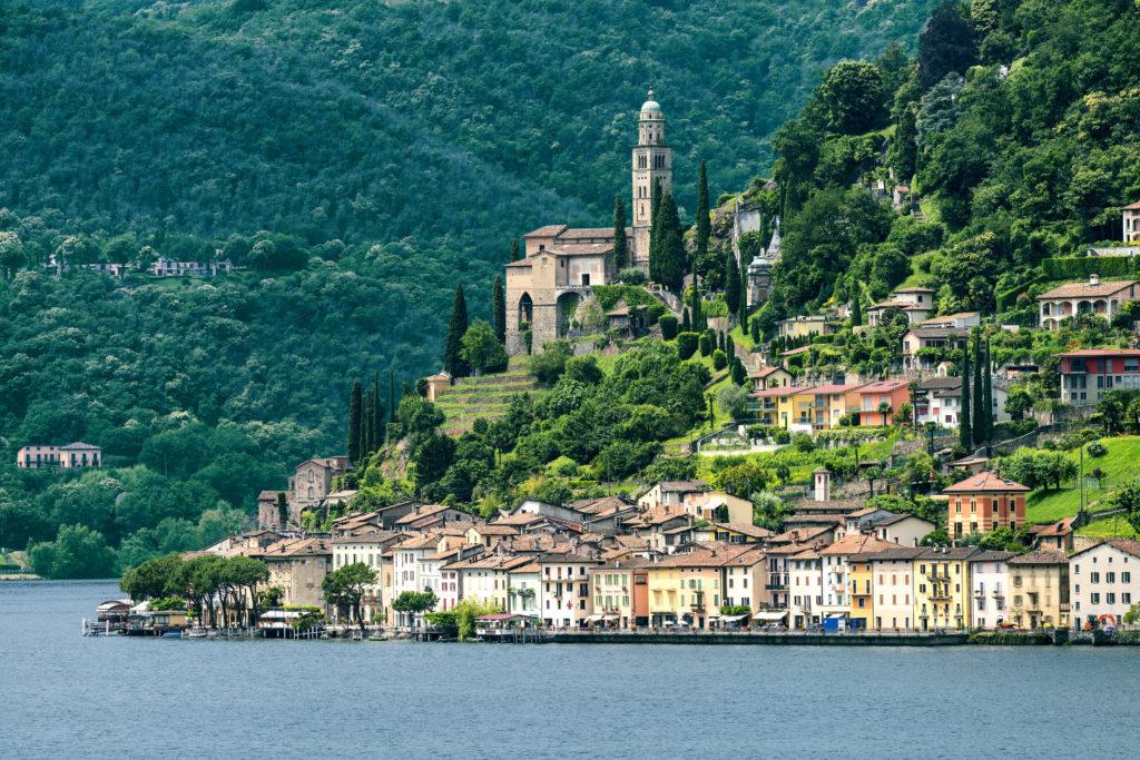 Italian lakes | The Ceresio Lake (Ticino, Switzerland)), landscape at summer. Church of Santa Maria del Sasso seen from Brusino Arsizio