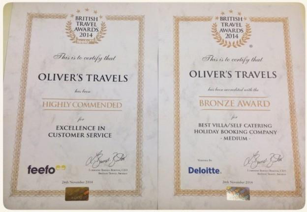 Oliver's Travels Wins a BTA award - Luxury villas to rent