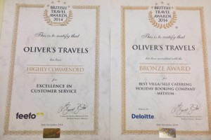 Oliver's Travels Wins a BTA award - Luxury villas to rent