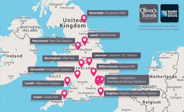 Rugby World Cup 2015 Venues Map: Cities and Stadiums
