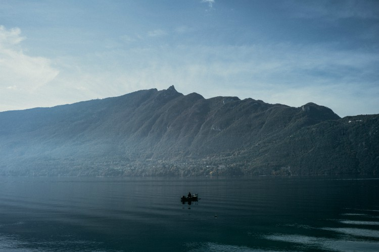 Fisherman on Annecy lake
