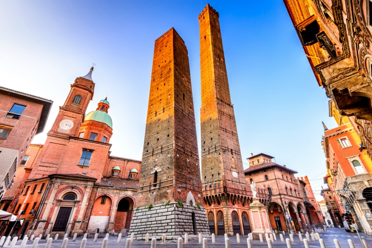 Bologna, Italy - Two Towers (Due Torri), Asinelli and Garisenda, symbols of medieval Bologna towers.
