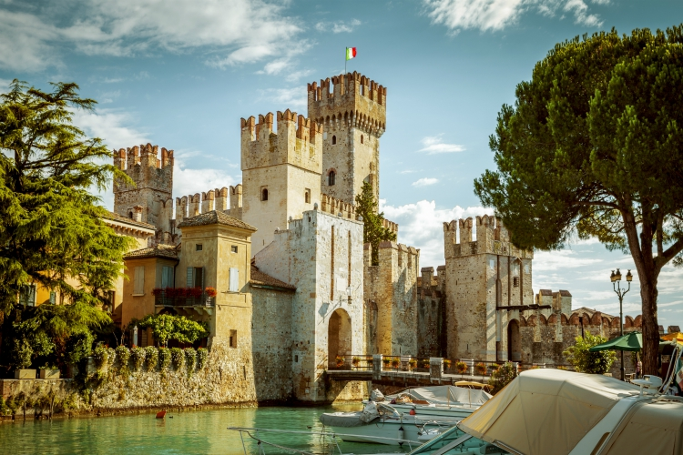 SIRMIONE, ITALY - JULY 16, 2014: Rocca Scaligera castle in Sirmione town near Garda Lake in Italy