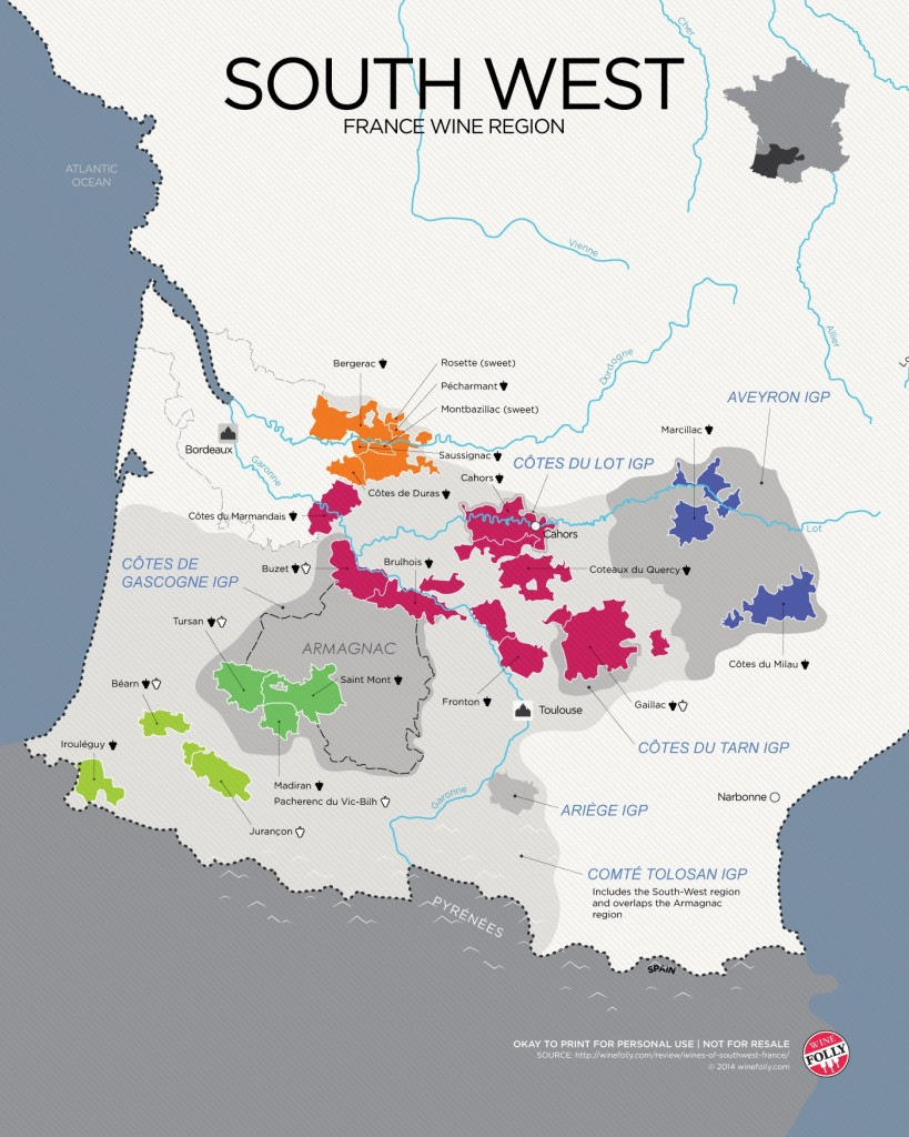 South West France - Wine Map