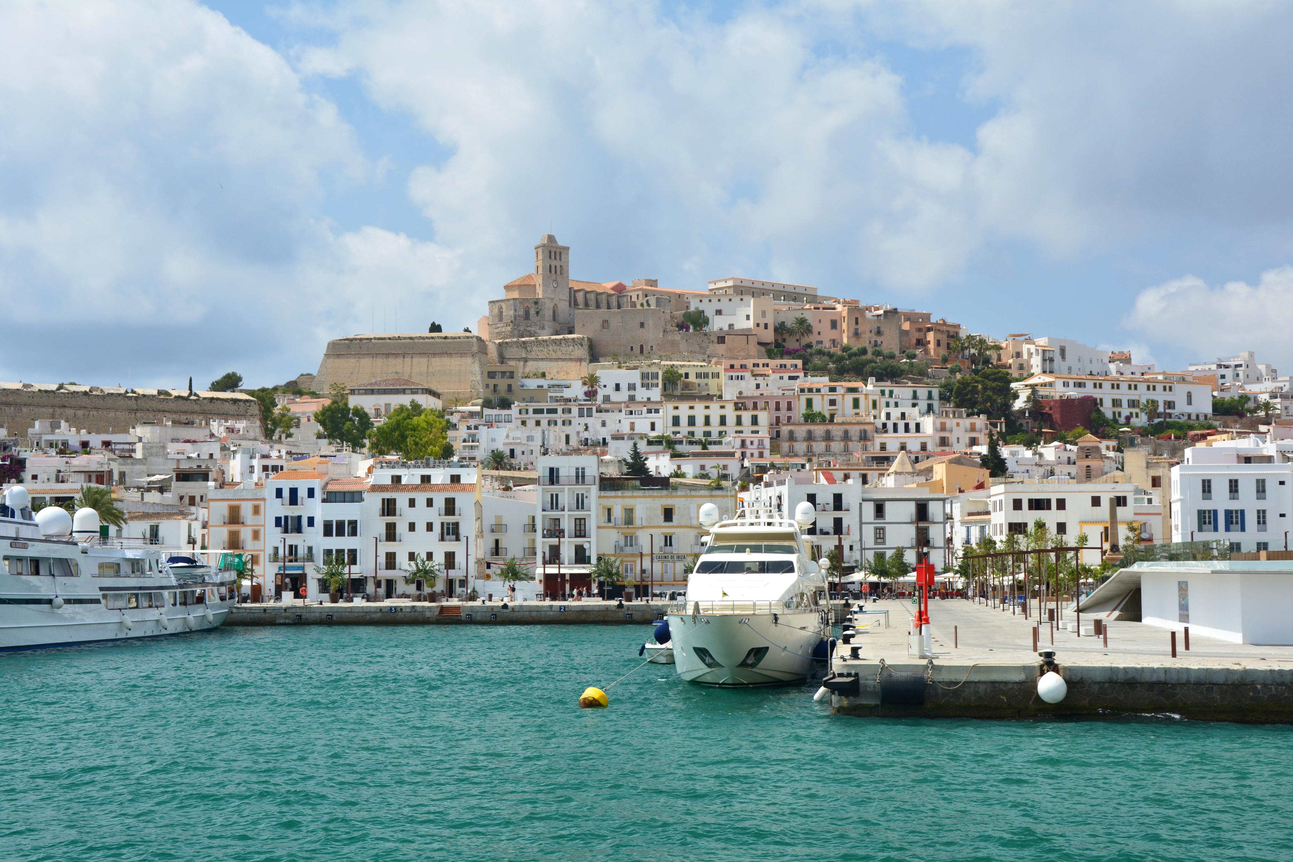 IBIZA, SPAIN - JULY 14, 2017 : Old town and marina of Eivissa city, Ibiza island. Waterfront view