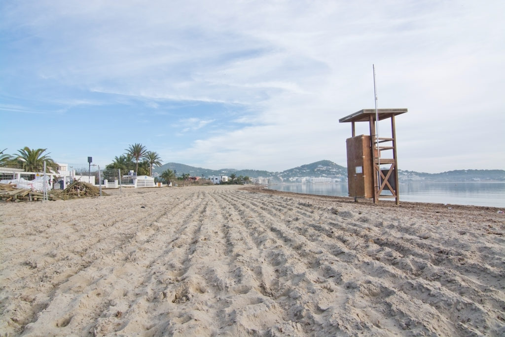 Ibiza, Balearic islands, Spain - December 17, 2015: Lifeguard station on empty Talamanca beach on a sunny winter morning in December.