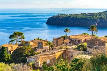 Beautiful small village at the coast of Majorca island, Spain Mediterranean Sea