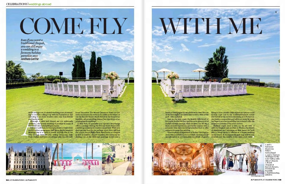 Chateau Challagne in the Jewish Chronicle - luxury destination wedding venues