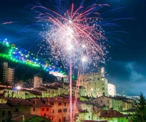 Fireworks at the lighting of the Gubbio Christmas Tree - Villas in Italy - Oliver's Travels
