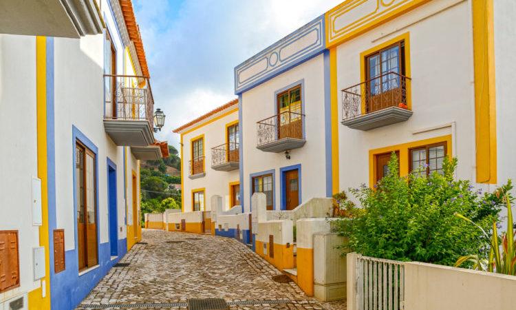 Colourful street in Faro Algarve