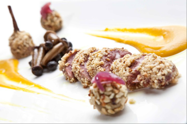 PIGEON with hazelnut, pioppini mushrooms, pumpkin and its liver - IO osteria personale - Tuscany