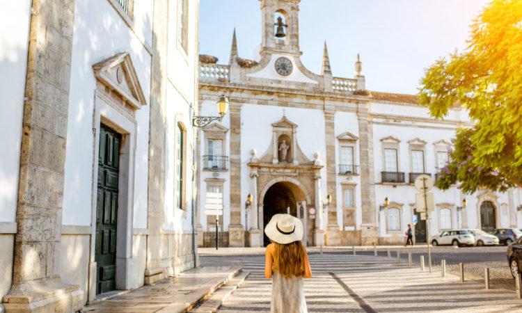 Woman on street in Faro Algarve Portugal