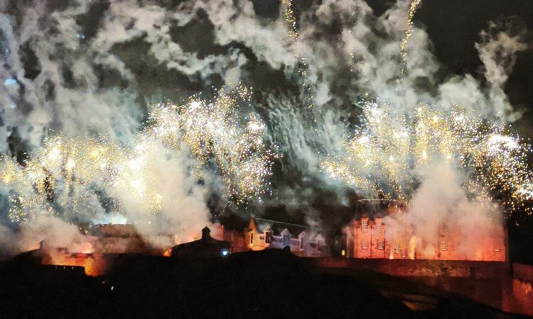 fireworks over Edinburgh castle for Hogmanay celebrations