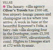 The Sunday Times - Oliver's Travels Coverage