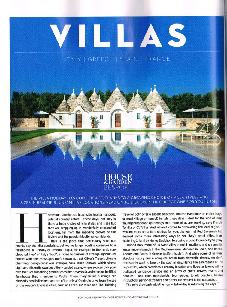 House & Garden Magazine - Villa Trullo - Oliver's Travels