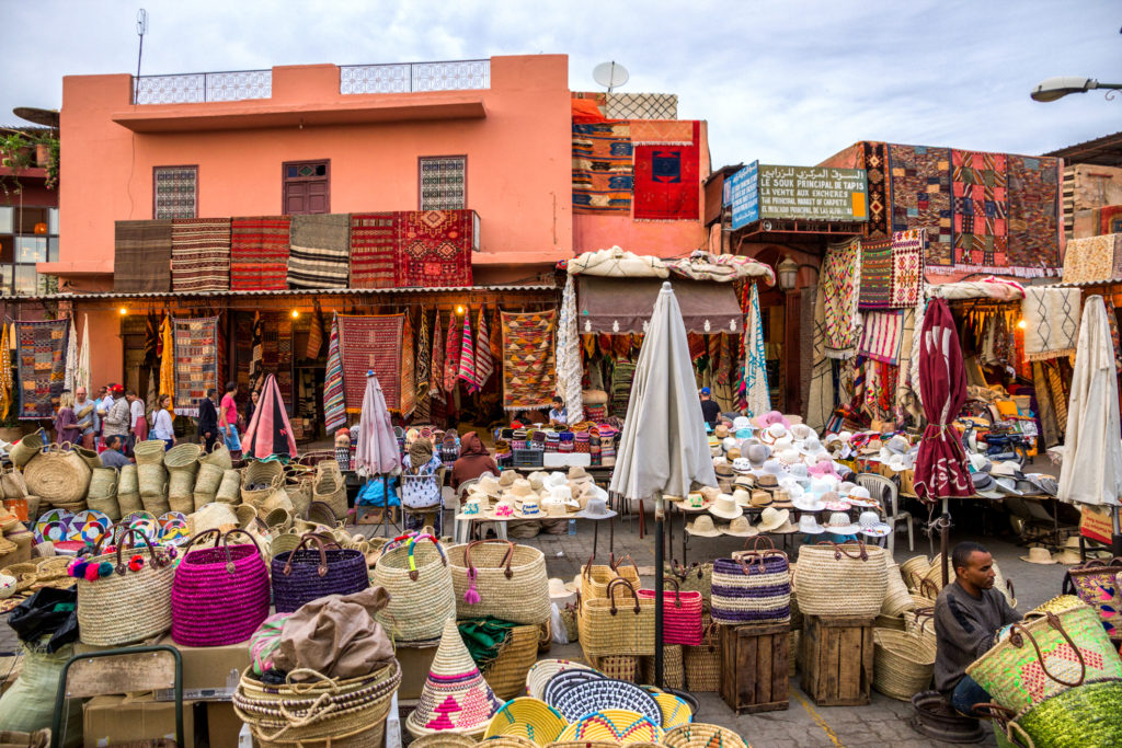 MARRAKECH, MOROCCO - APR 28, 2016: Berber market selling textile in the souks of Marrakesh.