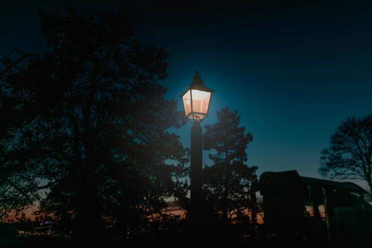 lone lightpost in the dark