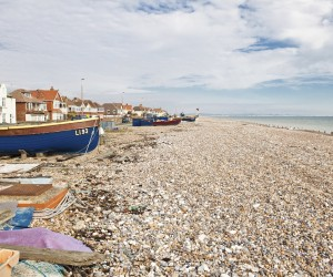 Fishing boats on the beach, in Sompting, West Sussex, England (t