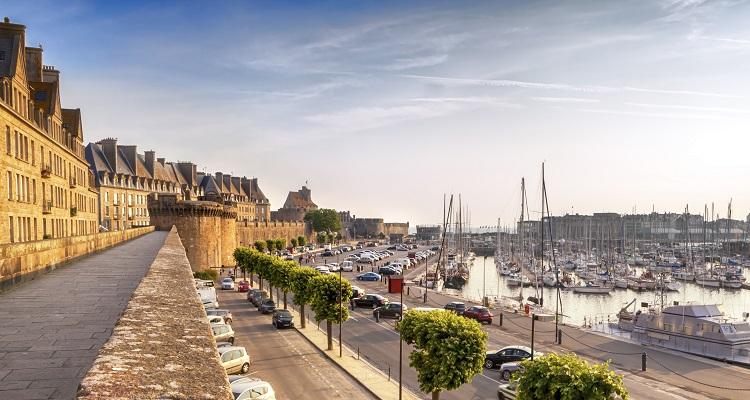 Saint Malo, France, at sunrise. Historic walls and harbor.