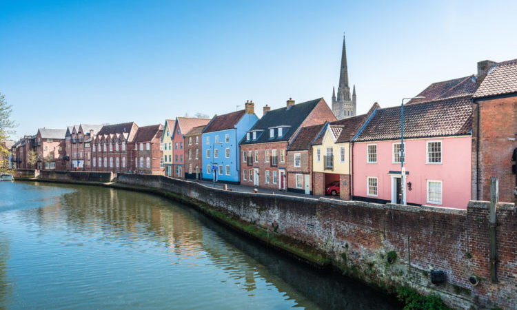 River Wensum at the Quayside, Norwich, Norfolk, United Kingdom.