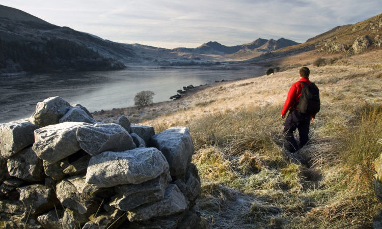 man on a walk, looking out to the view of a lake in snowdonia national park in wales