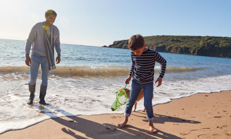 Father And Son With Dog Walking Along Beach By Breaking Waves On Beach Holding Fishing Net