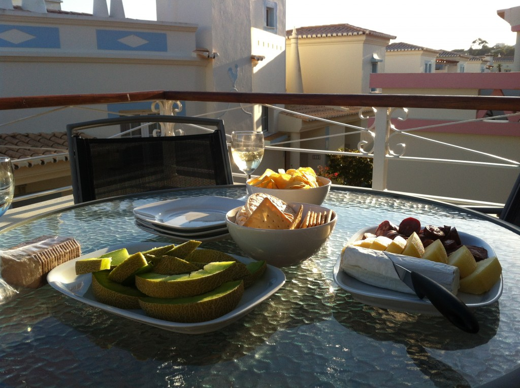 Snacks and Vinho Verde on the patio
