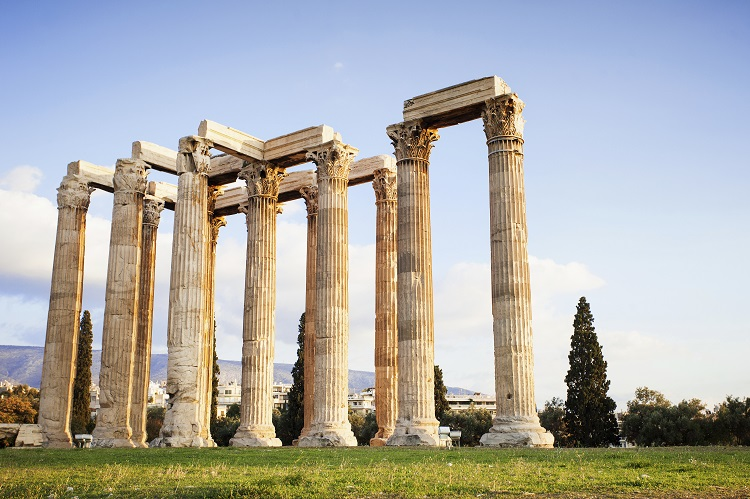 View of Temple of Zeus, Athens, Greece