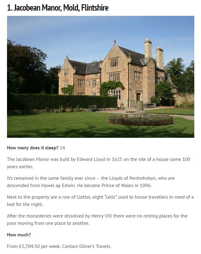 Wales Online - Oliver's Travels - Jacobean Manor