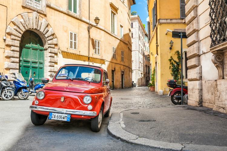Red vintage Fiat 500