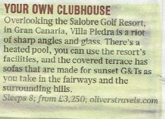 The Sunday Times - Villa Piedra - Oliver's Travels