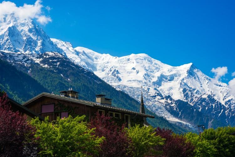 View of Mont Blanc Mountain Massif From Les Praz de Chamonix, France