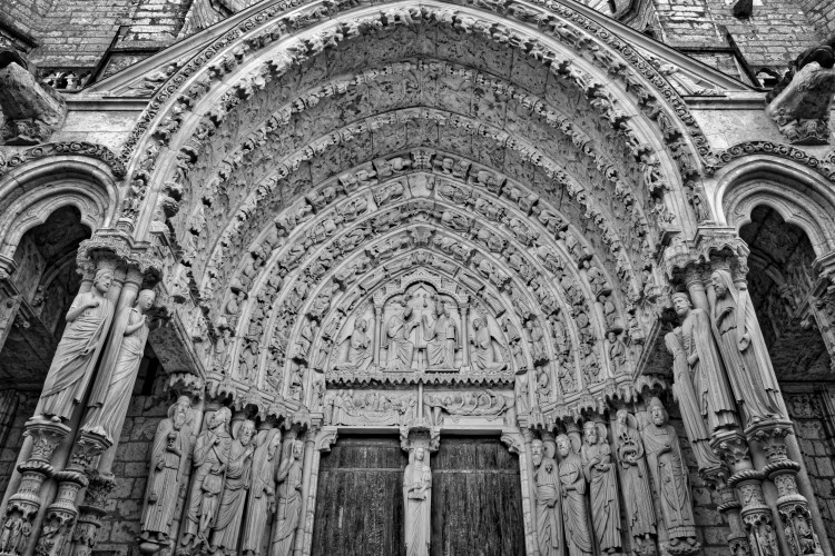 Each entrance into Chartres Cathedral is covered in ornate carvings.