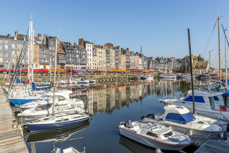 Honfleur, France - Look across the harbor from the old French town of Honfleur.
