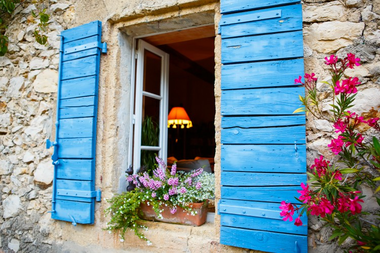 Part of provencal house of small typical town in Provence, France. Beautiful village, with