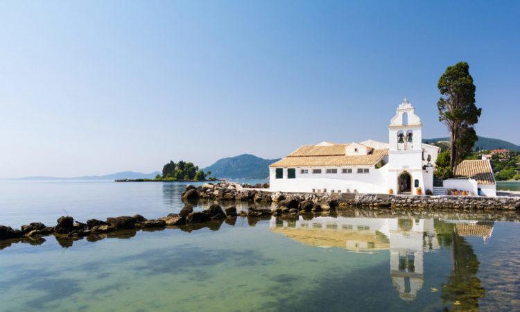view on Pontikonisi on Corfu island, Greece