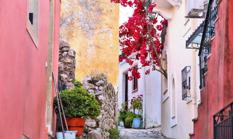Greek village at the island of Corfu - Sinarades. Rural Greece.