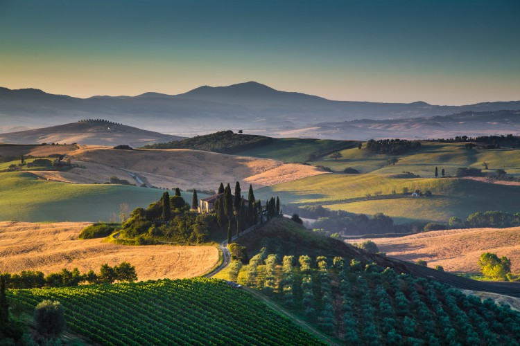 Scenic Tuscany landscape with rolling hills and valleys
