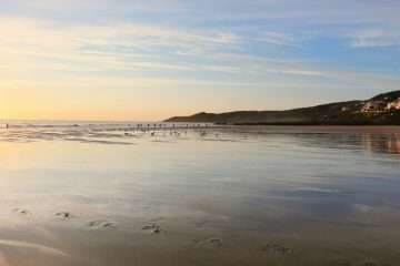empty beach with a few surfers and dog walkers in the evening, uk