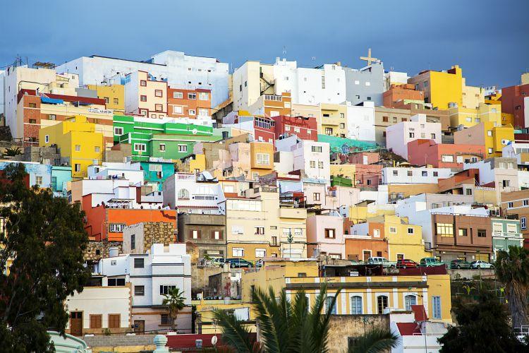 View at colorful houses at Las Palmas at Gran Canaria, Spain