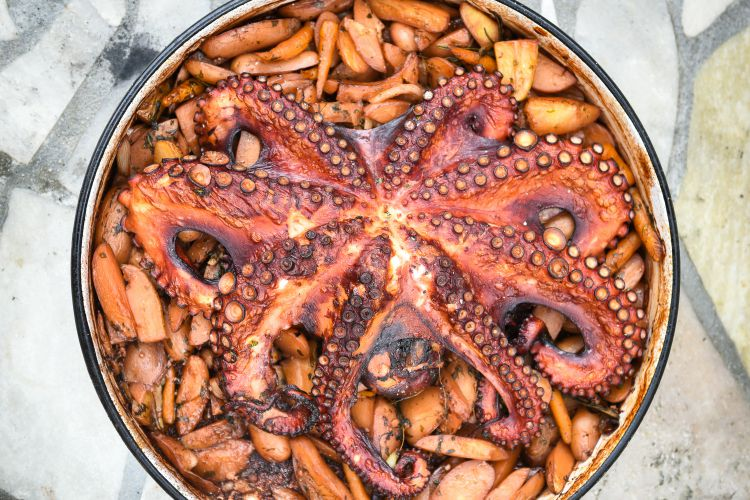 Preparing and Cooking of octopus in traditional Balkan CroatianGreek Mediterranean meal Peka in metal pots called sac sach or sache or a lid. This is a must when you visit Croatia