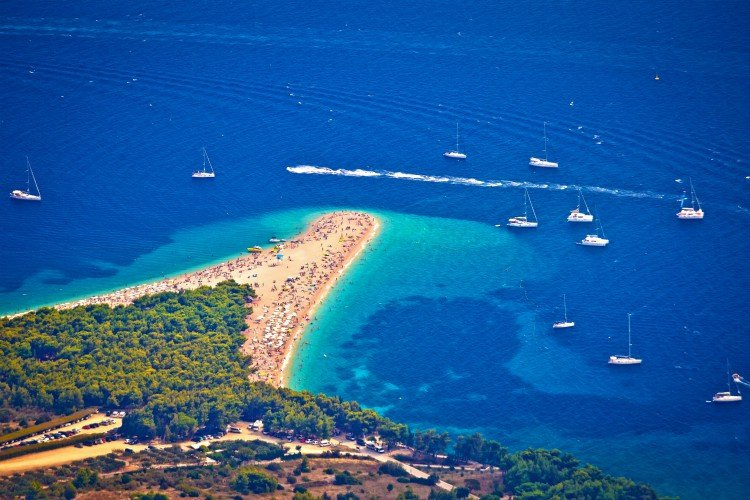 Zlatni rat beach aerial view, Island of Brac, Dalmatia, Croatia