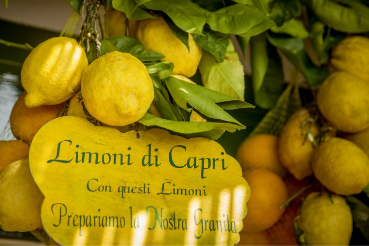 "Lemons with text ""lemons from Capri island. From these lemons we prepare our frozen dessert"" written on a sign"