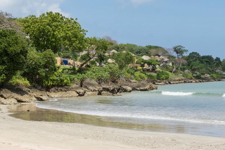 A corner of tropical Jimbaran Beach in Bali, Indonesia.