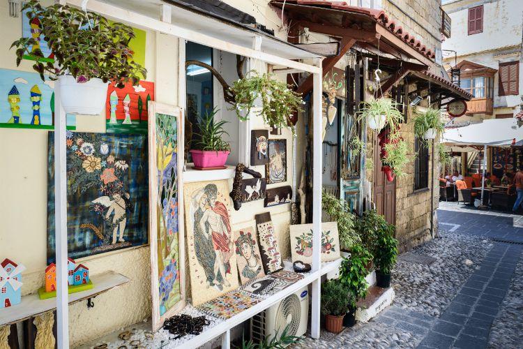 Traditional Greek souvenir shop at Rhodes town on Rhodes island, Greece