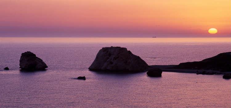 Aphrodite's Rock at sunset