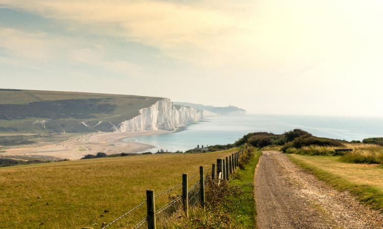 Road to Seven Sisters from Seaford Head by the English Channel, East Sussex