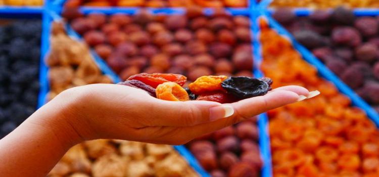 Dried fruit in a Russian market